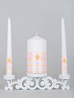 Свадебные свечи персиковые с белым кружевом