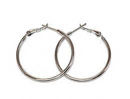 Серьги - кольца , цвет: серебряный, диаметр: 3,5 см, ширина: 2 мм.