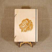 Скетчбук Лев. Блокнот с деревянной обложкой., фото 1