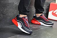 Весенние мужские кроссовки Nike Airmax 97, темно-синие с красной пяткой, (Реплика)