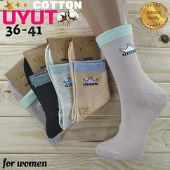 Носки женские высокие деми UYUT women cotton socks хлопок 36-41р.бесшовные с двойной пяткой ассорти НЖД-021242