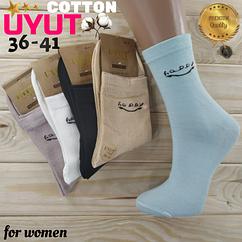 Носки женские высокие деми UYUT women cotton socks хлопок 36-41р.бесшовные с двойной пяткой ассорти НЖД-021243