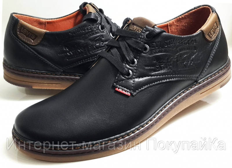 c31d5166b Мужские Осень-Весна Кожаные кроссовки туфли в стиле Levis model LS-Plus  черные Польша