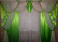 Комплекты ламбрекен и шторы из атласной ткани