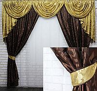 Комплекты ламбрекен и шторы из плотной ткани