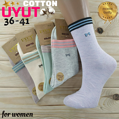 Носки женские высокие деми UYUT women cotton socks хлопок 36-41р.бесшовные с двойной пяткой ассорти НЖД-021245