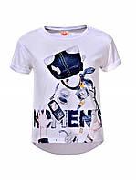 Белая футболка для девочек с оригинальным принтом, р  134,  Glo-story 5786, фото 1