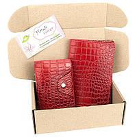 Подарочный набор №28: Обложка на паспорт + визитница (красный крокодил)