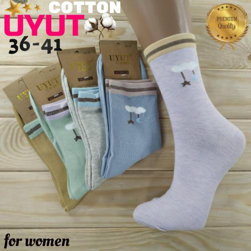 Носки женские высокие деми UYUT women cotton socks хлопок 36-41р.бесшовные с двойной пяткой ассорти НЖД-021248