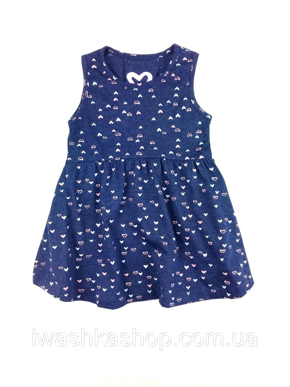 Летний синий сарафан в сердечки на девочек 6 - 7 лет, р. 122, Young Dimension by Primark