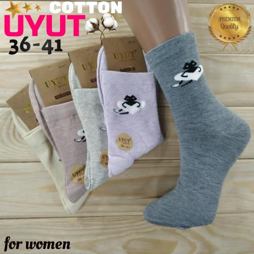 Носки женские высокие деми UYUT women cotton socks хлопок 36-41р.бесшовные с двойной пяткой ассорти НЖД-021249