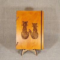 Скетчбук Two cats. Блокнот с деревянной обложкой., фото 1