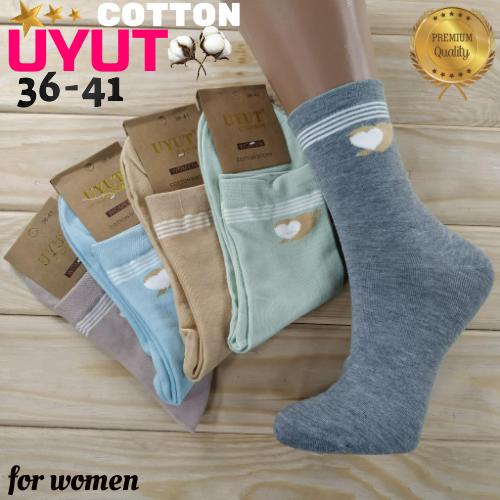 Носки женские высокие деми UYUT women cotton socks хлопок 36-41р.бесшовные с двойной пяткой ассорти НЖД-021250