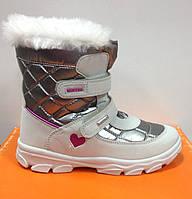 Сапоги для девочки зимние итальянски  СHICCO серебристо-белые на липучках