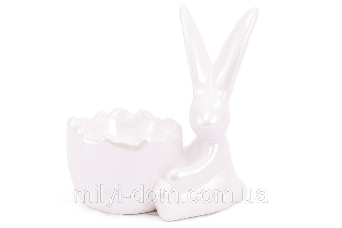 """Подставка под яйцо """"Кролик"""". набор 4 шт, белый перламутр"""