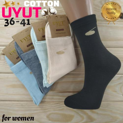 Носки женские высокие деми UYUT women cotton socks хлопок 36-41р.бесшовные с двойной пяткой ассорти НЖД-021252