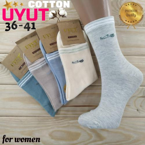 Носки женские высокие деми UYUT women cotton socks хлопок 36-41р.бесшовные с двойной пяткой ассорти НЖД-021253