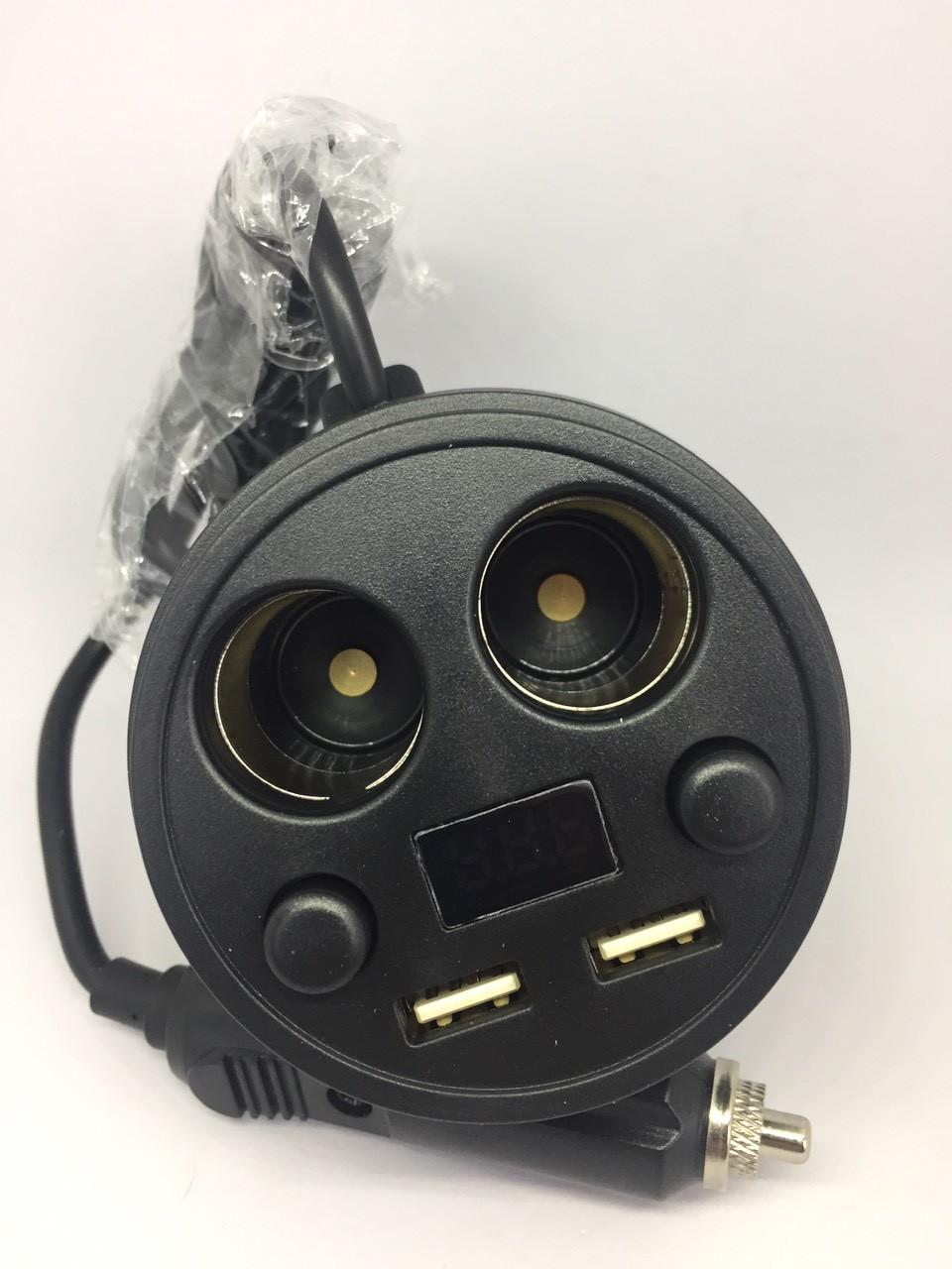 "Автомоб. зарядка ""стакан"" 2хгн.прикурювача+ 2хUSB 3.1 А+дисплей з кабелем 1,5 м"