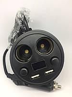 """Автомоб. зарядка """"стакан"""" 2хгн.прикурювача+ 2хUSB 3.1 А+дисплей з кабелем 1,5 м, фото 1"""