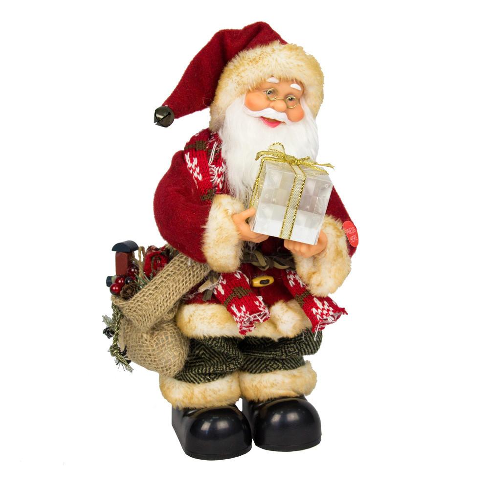 Новогодняя сувенирная фигурка Дед Мороз в красной шубе с подарком, интерактивный, 25см, (230211)