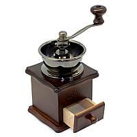 Деревянная винтажная кофемолка Kamille с керамическим жерновом, подарочная ручная механическая кофемолка