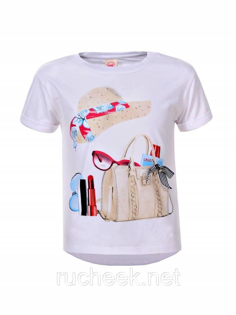 Стильная белая футболка с принтом для девочек, р -ры 134 - 146, Glo-story 5797