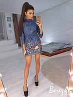 Вышитое платье из джинса