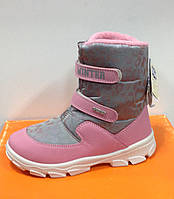 Ботинки для девочки зимние итальянски  СHICCO на липучках розово-серые