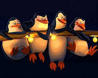 """Набор для рисования картины своими руками """"Пингвины Мадагаскар"""" 40х50см, С коробкой"""