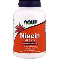 Ниацин, Now Foods, 500 мг, 250 таблеток