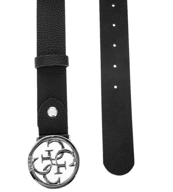 Ремень кожаный черный Guess с серебряной пряжкой
