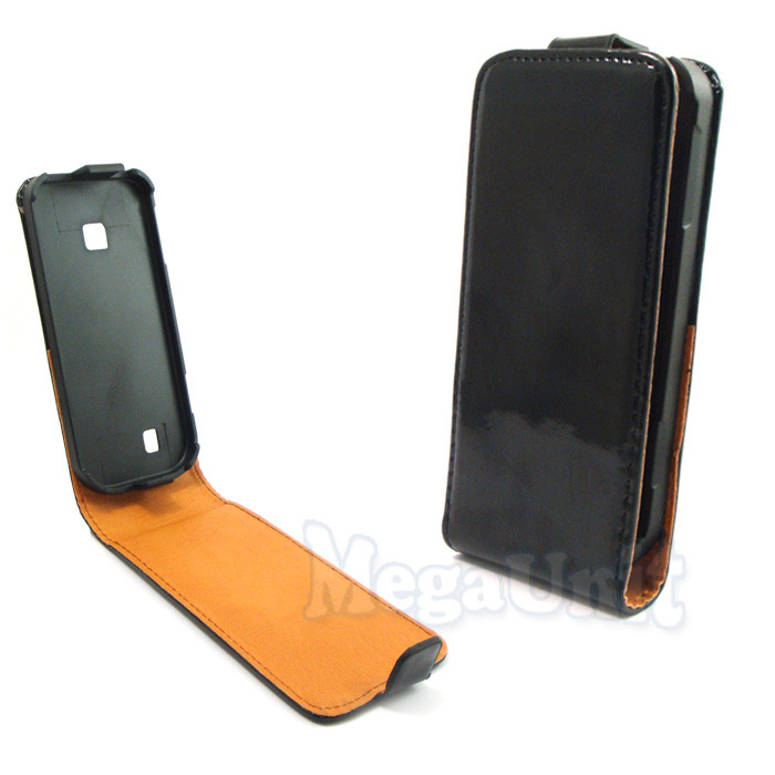 Откидной чехол-флип для Nokia C5-01 Черный