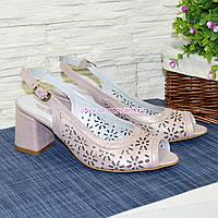 Босоножки женские кожаные перфорированные на невысоком каблуке. 39 размер