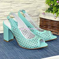 Босоножки женские кожаные на высоком устойчивом каблуке, цвет мята. 38 размер