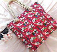 Пляжная сумка на канатных ручках Бульдоги малиновая, фото 1