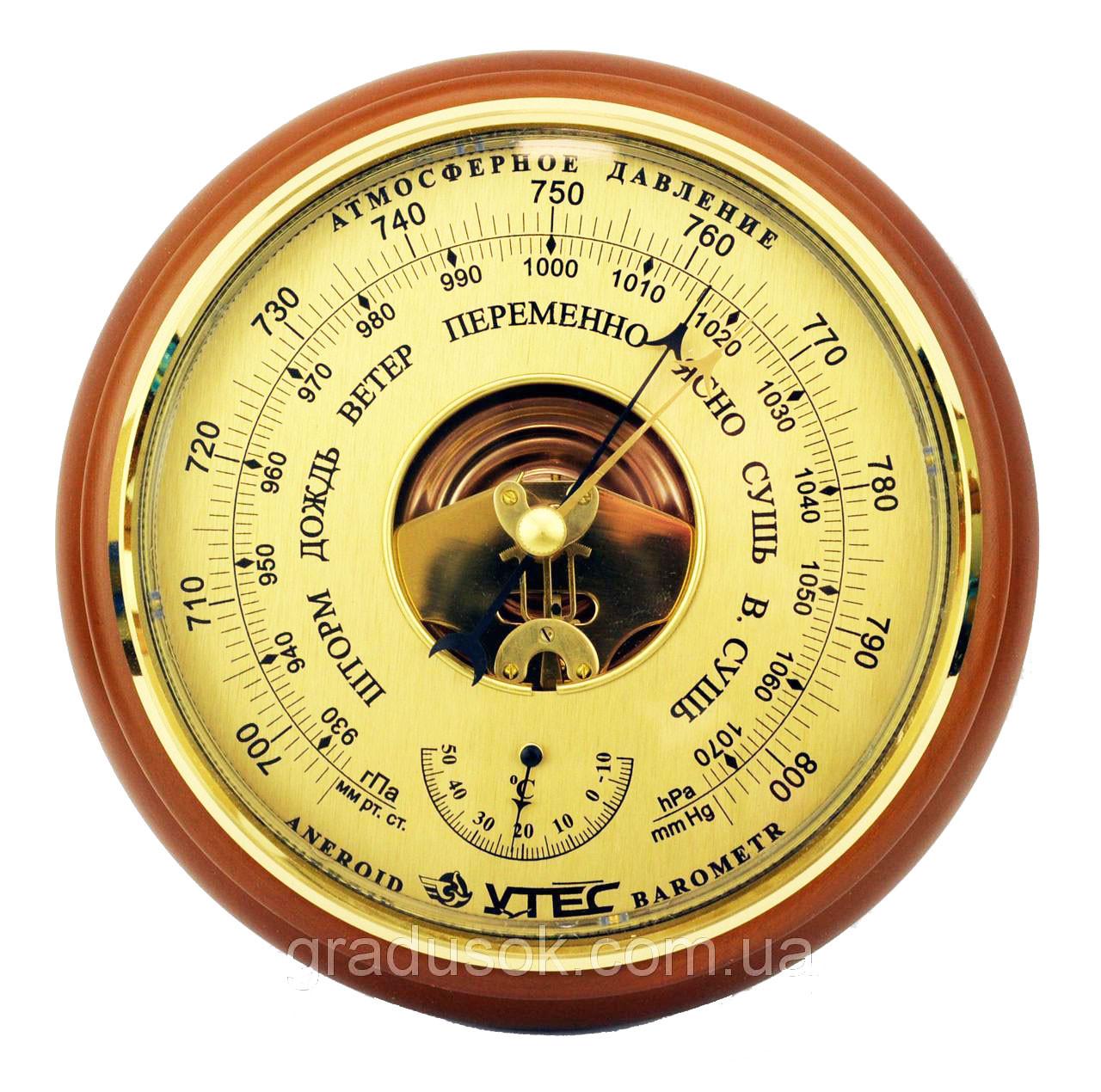 Барометр анероид «Утес/Крэт» БТК СН 8 с термометром, большой (⌀175мм), фото 1