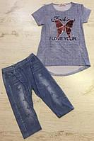 Костюм двойка для девочек, комплект футболка и бриджи, р - р 5 - 6 лет, Seagull 58512 , фото 1