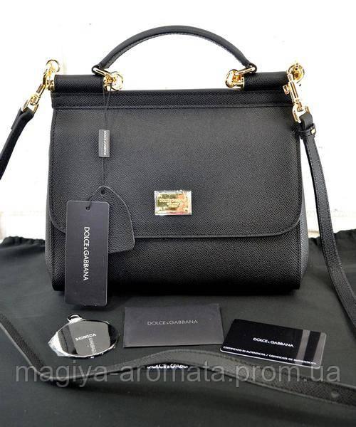 7d06873734f Женская кожаная сумка Dolce   Gabbana Sicily Black - Магия Аромата -  Парфюмерия