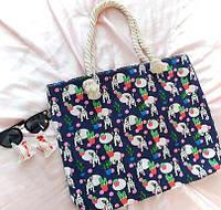 Пляжная сумка на канатных ручках Бульдоги синяя, фото 1