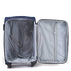 Тканевой чемодан Wings 1706 на 4 колеса, Польша, телескопическая ручка, металлический каркас, фото 2