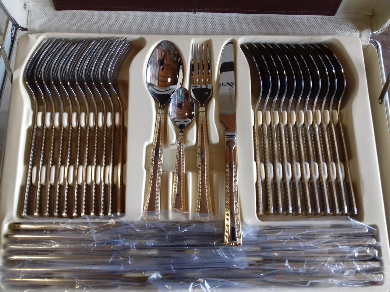 Великий набір столових приладів Bachmayer BM 7285 72 шт на 12 персон набір фраже в кейсі