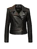 Куртка женская кожаная косуха Leonardo с отстегивающимся низом черная