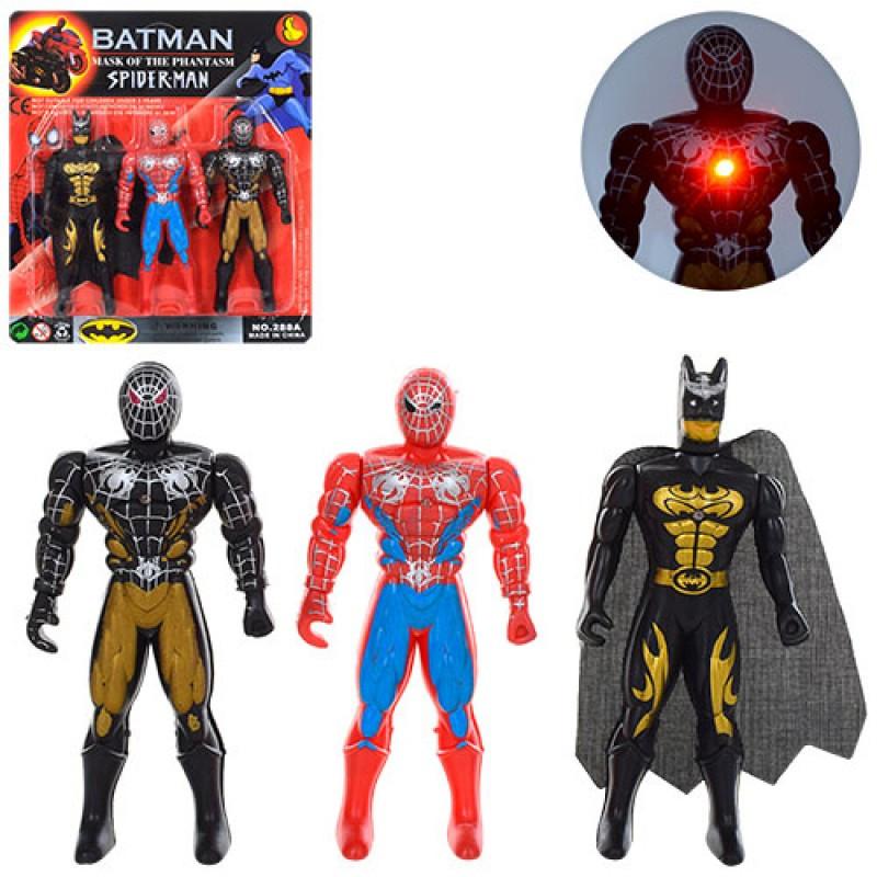 Супергерої 288A5 3 фігурки, світло, рухомі руки, на батарейки, на листі, 19-21-2 см