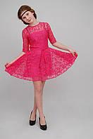 Платье нарядное детское  из гипюра М -947  рост 146 розовое, фото 1