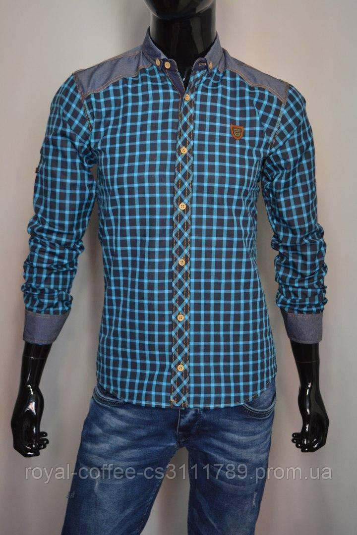 18a8182169d Мужская рубашка с длинным рукавом и джинсовыми вставками бирюзовая клетка  Турция 2077