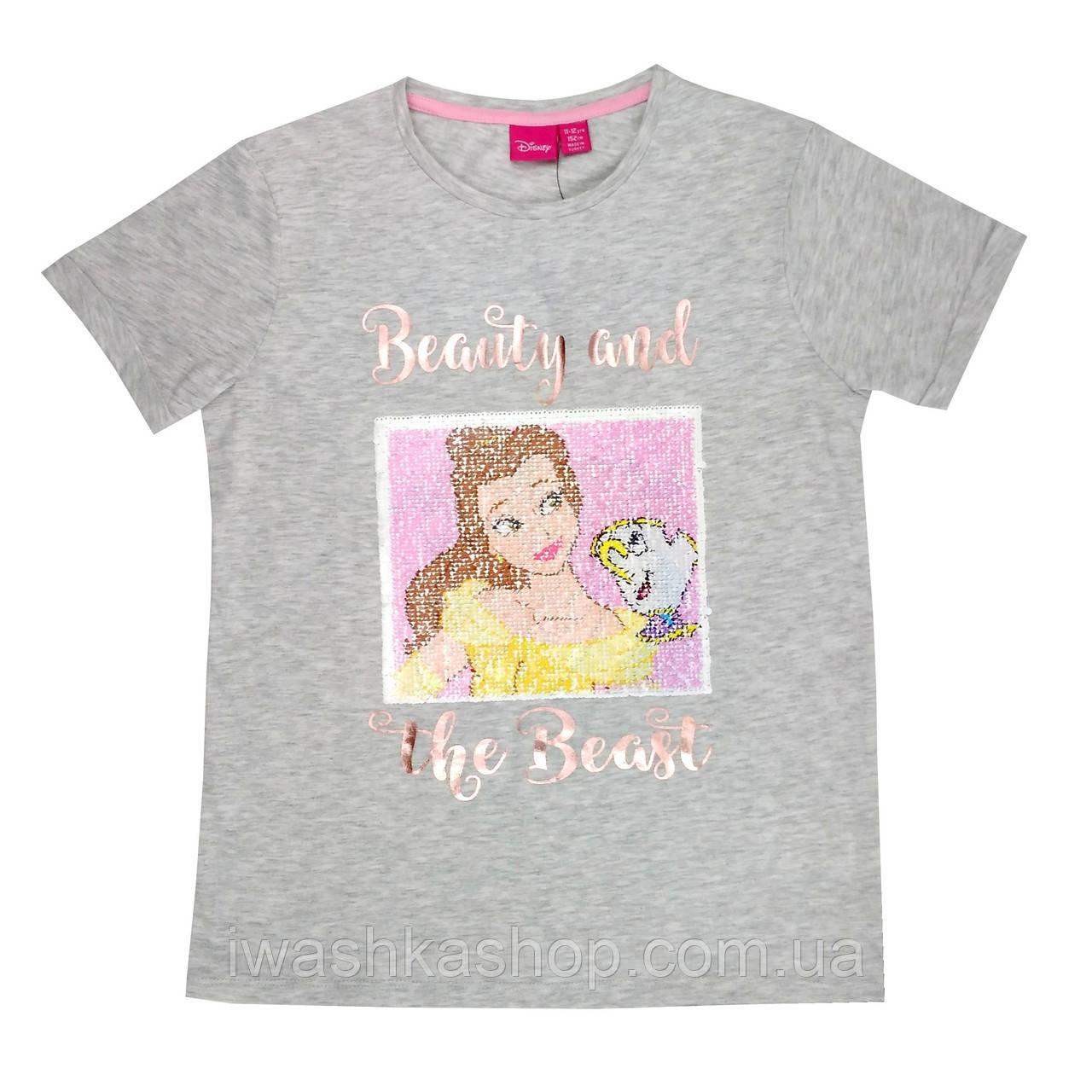 Стильная серая футболка с пайетками - перевертышами на девочку 12 - 13 лет, р. 152, Primark / Disney