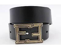 Ремень кожаный Fendi черный с бронзовой пряжкой
