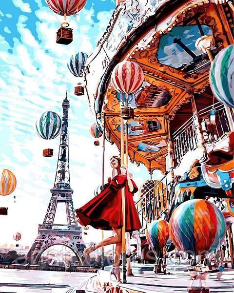Набор для рисования картины своими руками Парижская карусель 40х50см, С коробкой