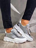 4a0727223 Женские кроссовки Сolors серебро+белый натуральная кожа на платформе