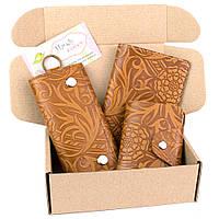Подарочный набор №29: Обложка на паспорт + ключница + визитница (светло-коричневый цветочек), фото 1